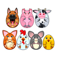 Funny animals rounded like eggs vector