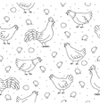 Seamless pattern with chickens roosters vector
