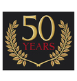 50 years anniversary and golden laurel wreath vector