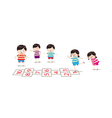 Kids playing hopscotch in a playground vector