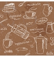 Seamless pattern with hand drawn coffee items vector
