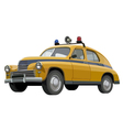 Soviet retro yellow police car with flashing vector
