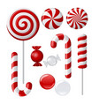 Set with different red and white candies vector