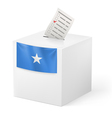 Ballot box with voting paper somalia vector