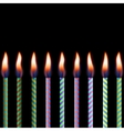 Candles on black background eps 8 vector