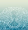 Woman praying on blue gradient background vector