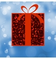 Red gift box with red ribbon eps 8 vector