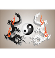 Chinese dragons yin and yang vector