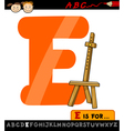 Letter e with easel cartoon vector