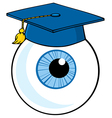 Eye ball cartoon character with graduate cap vector