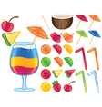 Tropical drink items vector