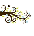 Spring tree with birds vector