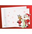 Paper sheets santa claus and reindeer vector