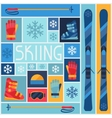 Sports background with skiing equipment flat icons vector