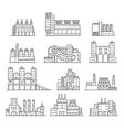 Cute cartoon hand drawn doodle factory set vector