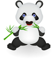 Funny panda eating bamboo vector