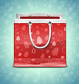 Christmas red shopping bag vector