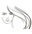 Young woman face with long blond hair vector