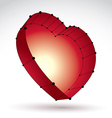 3d mesh stylish web red love heart sign isolated vector