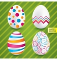 Happy easter white eggs with colorful patterns vector