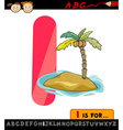 Letter i with island cartoon vector