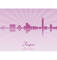 Taipei skyline in purple radiant orchid vector
