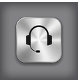 Headphones icon - metal app button vector