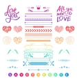Set of romantic elements for a wedding invitation vector