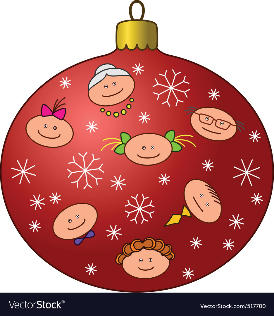 Christmastree decoration with faces vector   Price: 1 Credit (USD $1)