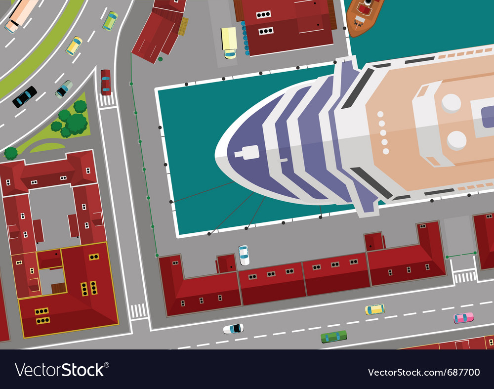 Cruise ship in port vector | Price: 1 Credit (USD $1)