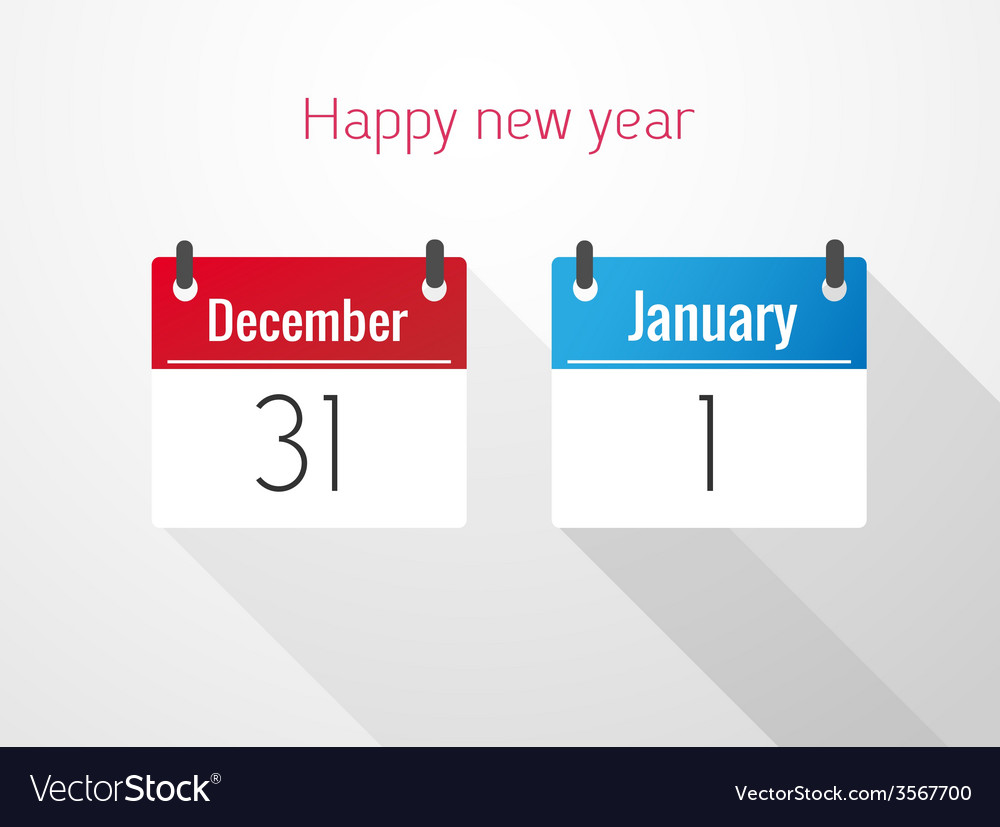 Fat calendar from december to january vector | Price: 1 Credit (USD $1)