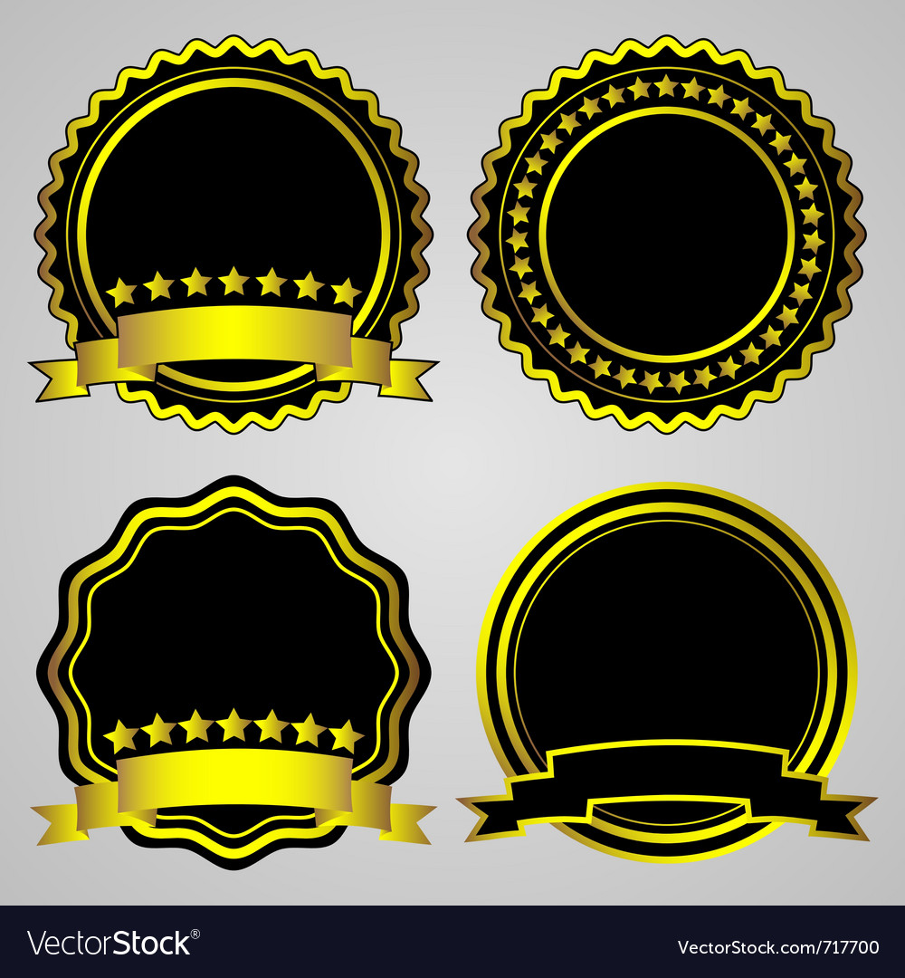 Gold-framed labels set vector | Price: 1 Credit (USD $1)