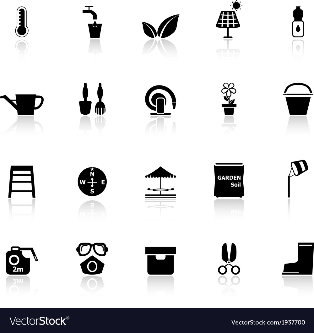 Home garden icons with reflect on white background vector | Price: 1 Credit (USD $1)