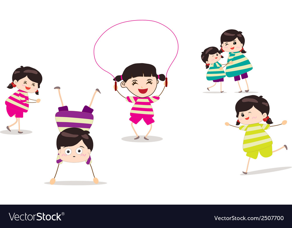 Little children doing skipping against white vector | Price: 1 Credit (USD $1)