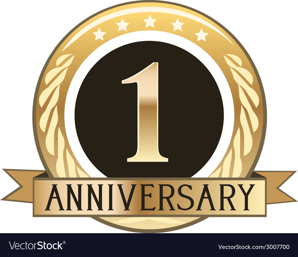 One year anniversary badge vector | Price: 1 Credit (USD $1)