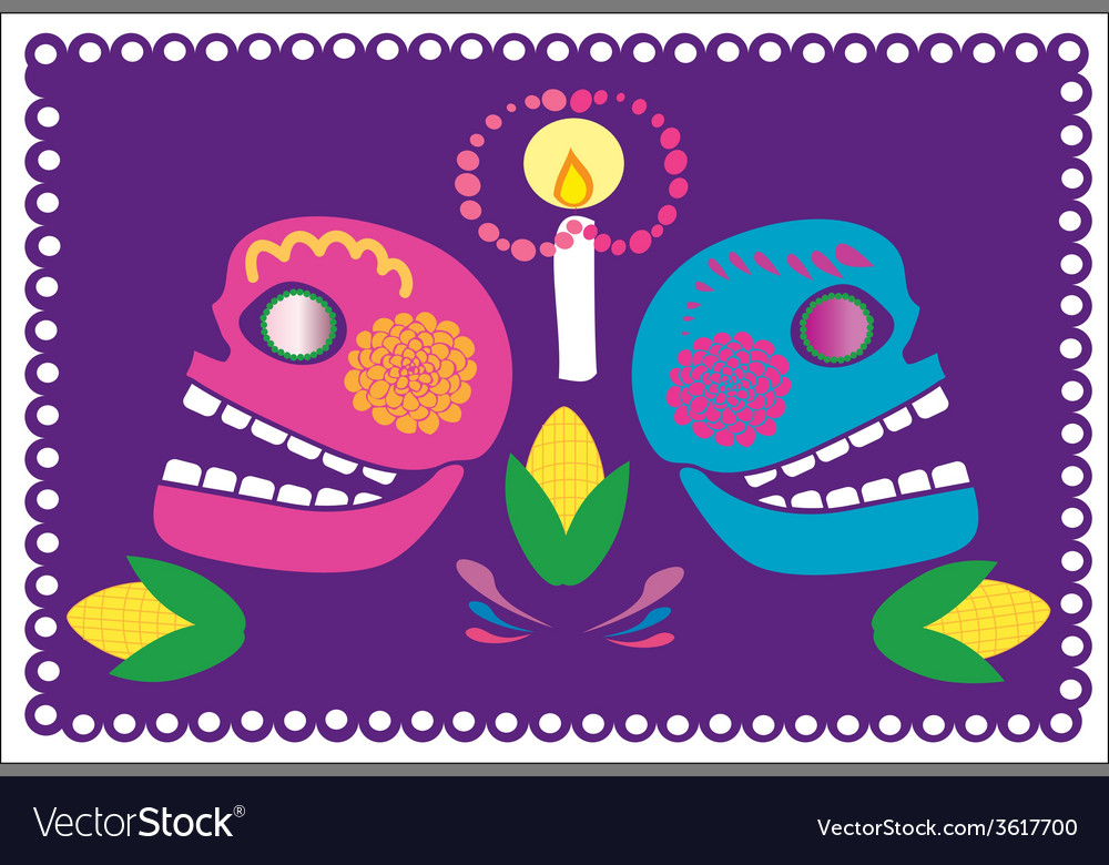 Skulls with flowers 2 vector | Price: 1 Credit (USD $1)