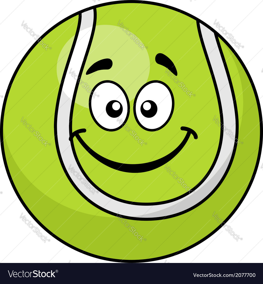 Smiling green cartoon tennis ball vector | Price: 1 Credit (USD $1)