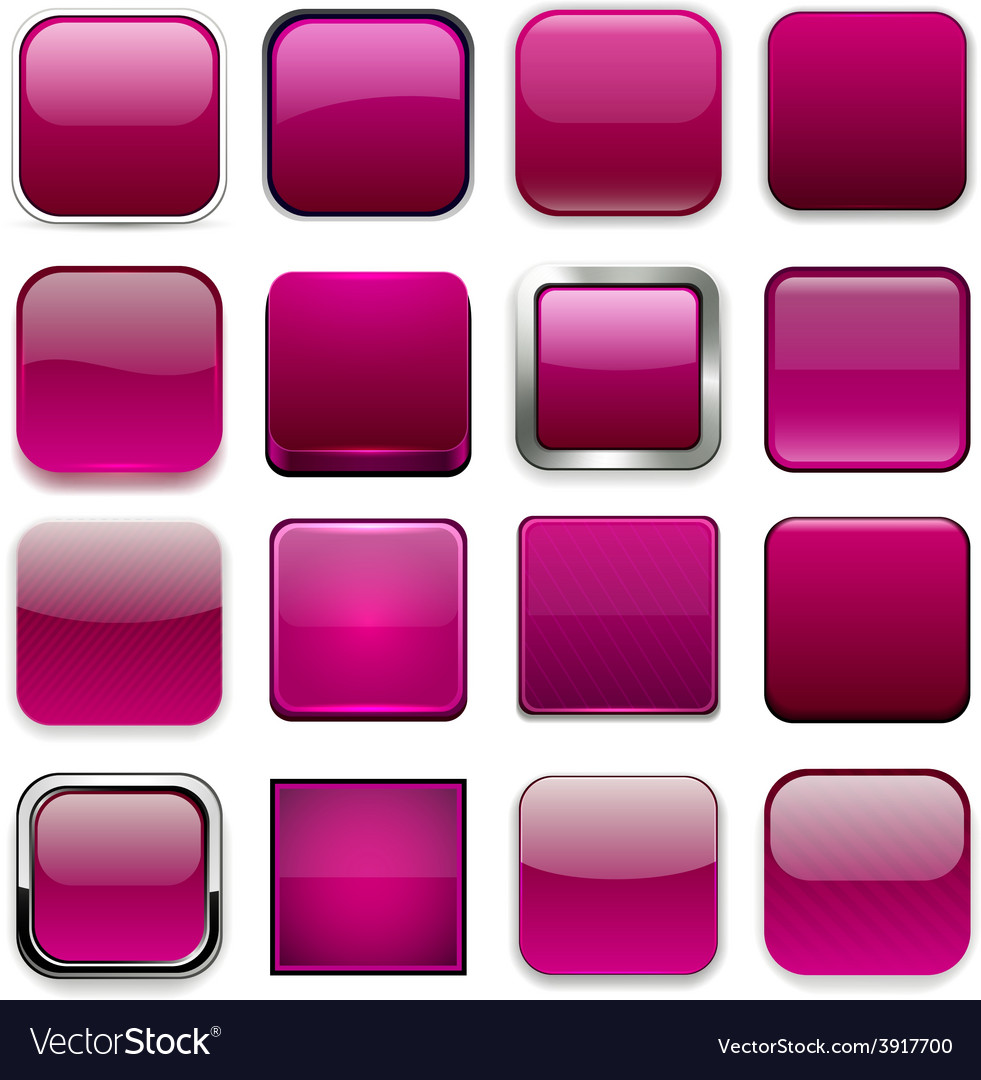 Square magenta app icons vector | Price: 1 Credit (USD $1)