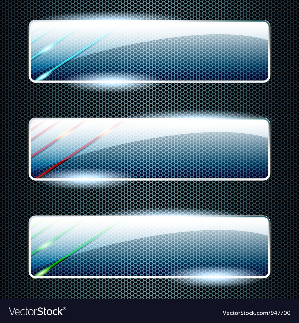 Transparent glass banners with color elements vector | Price: 1 Credit (USD $1)