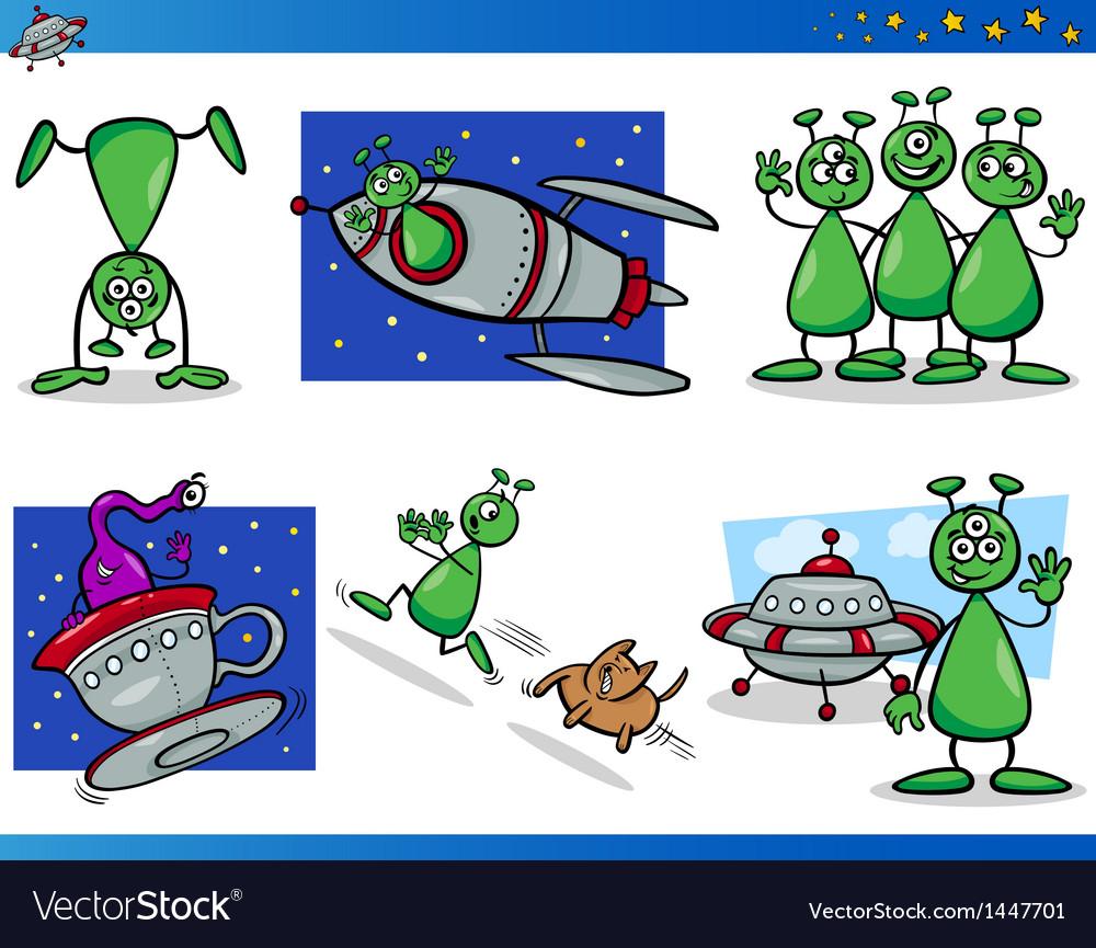 Aliens or martians cartoon characters set vector | Price: 3 Credit (USD $3)