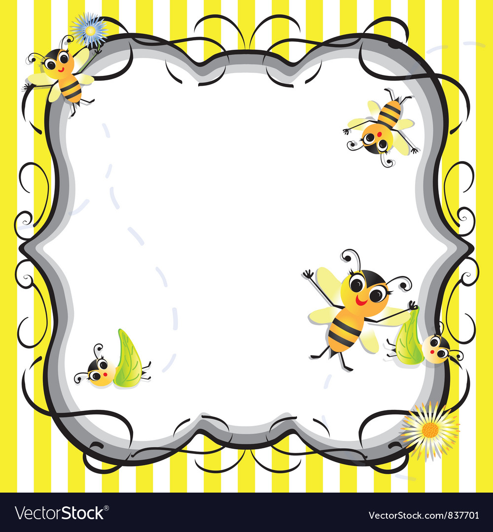 Bee baby shower party invitation vector | Price: 1 Credit (USD $1)