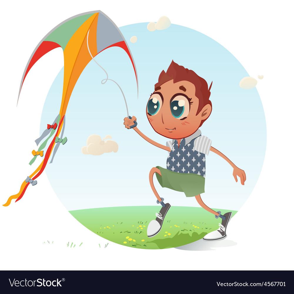Boy flies his kite vector | Price: 1 Credit (USD $1)