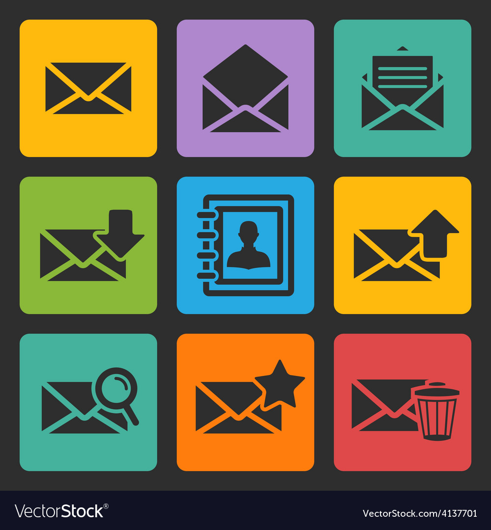 Email black icons set vector | Price: 1 Credit (USD $1)