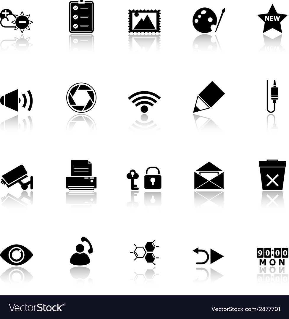 General computer screen icons with reflect on vector | Price: 1 Credit (USD $1)