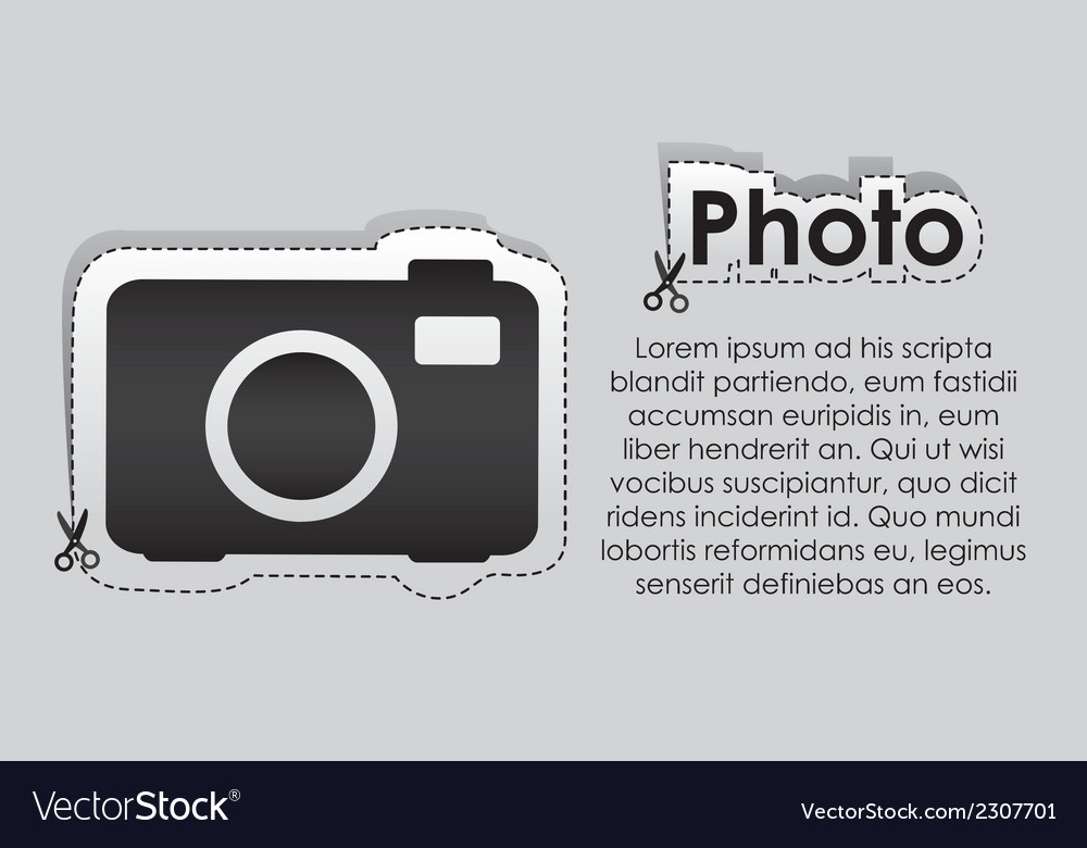 Label with cut lines and the image of a camera vector | Price: 1 Credit (USD $1)