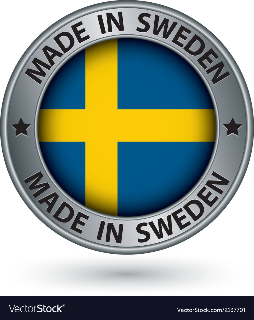 Made in sweden silver label with flag vector | Price: 1 Credit (USD $1)