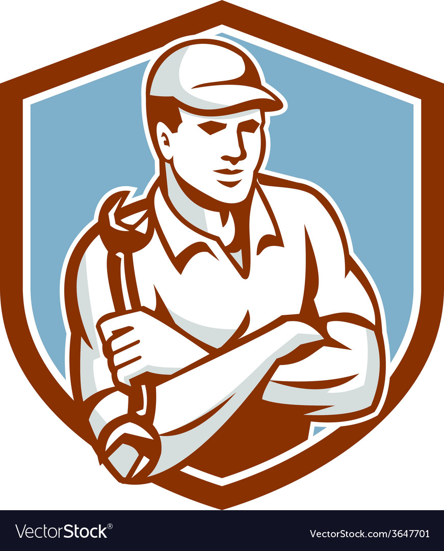 Mechanic holding spanner arms crossed shield vector   Price: 1 Credit (USD $1)