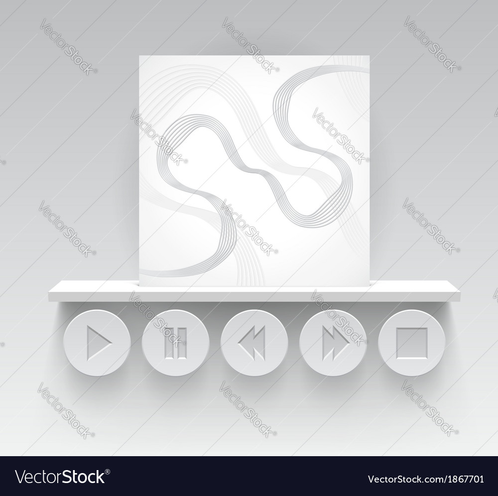 Media interface with album cover and buttons vector | Price: 1 Credit (USD $1)