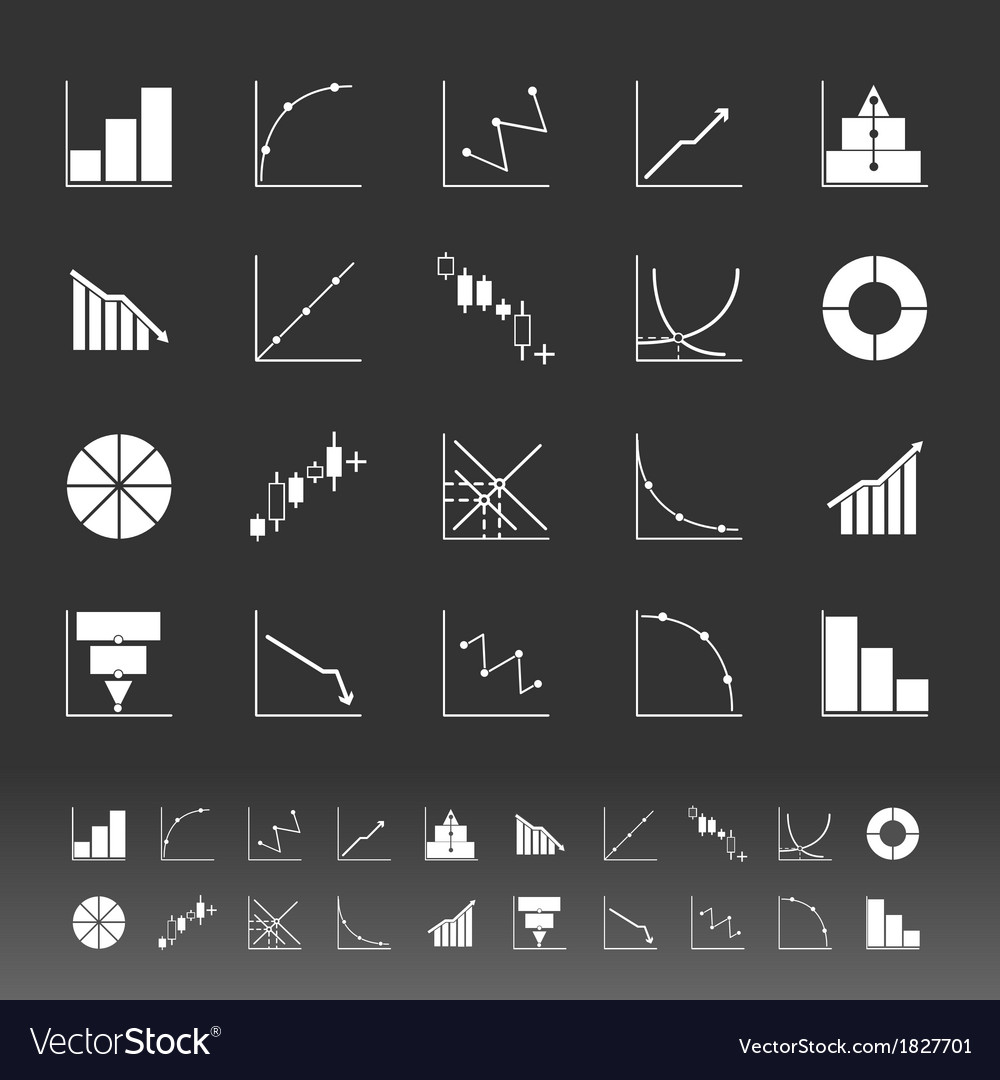 Set of diagram and graph icons on gray background vector | Price: 1 Credit (USD $1)