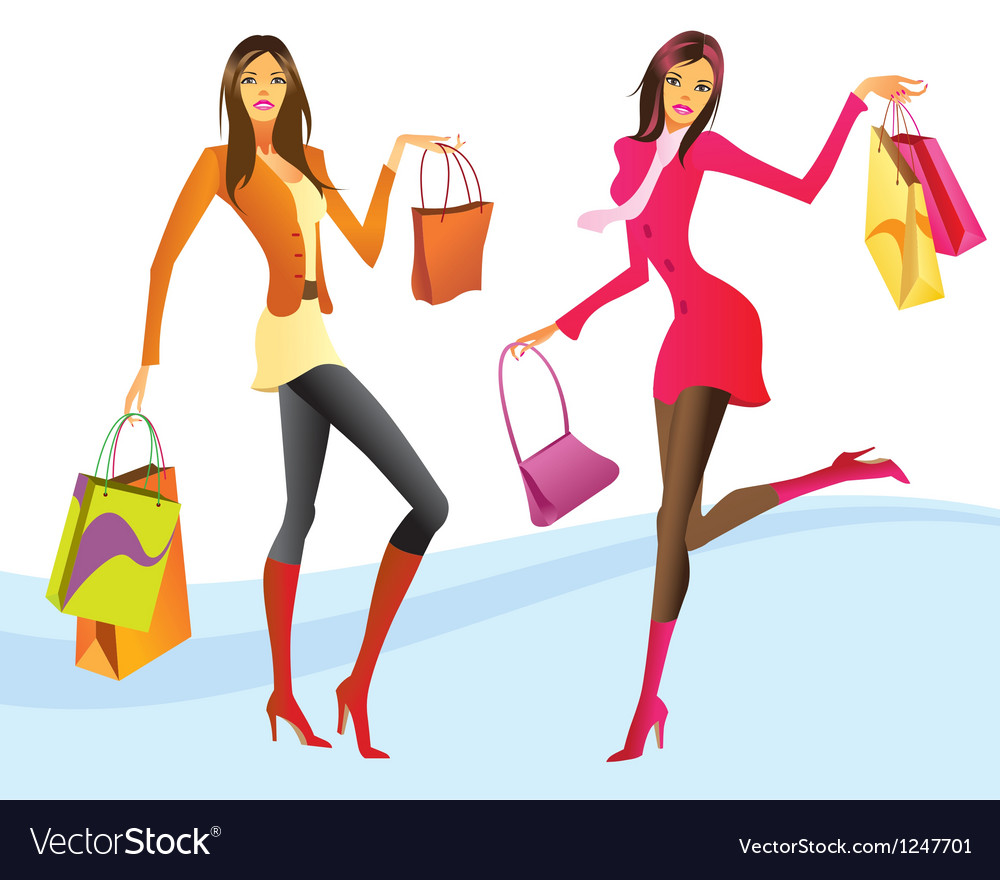 Shopping girls in action vector | Price: 3 Credit (USD $3)